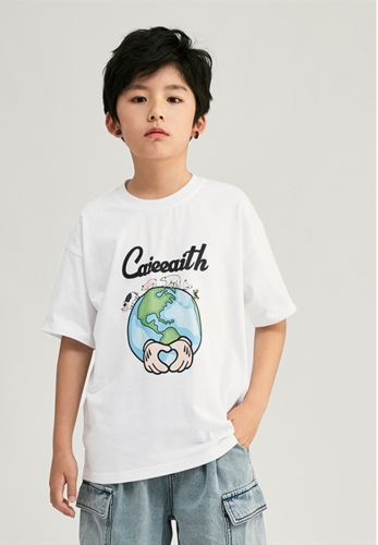 Individual cartoon letter printed medium and large children's cotton short sleeve