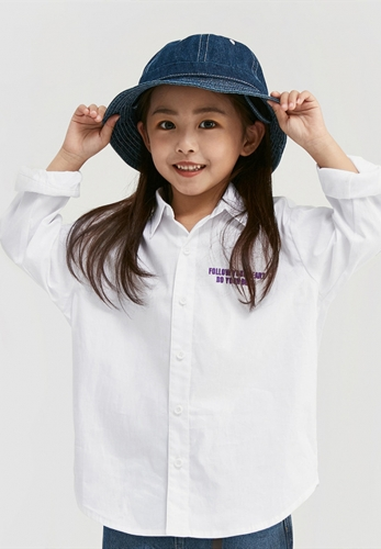 2 ~ 8 years old middle and small children Japanese color-coded letter embroidery long-sleeved shirt