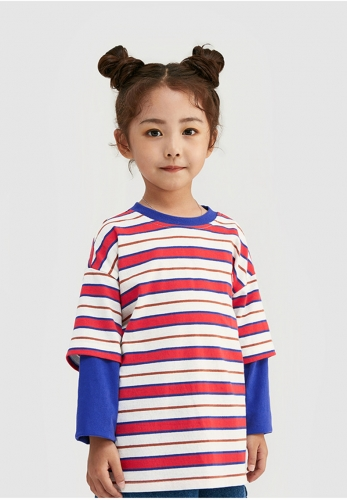 Letter rubber stamp stripe fake two pieces long-sleeved T-shirt