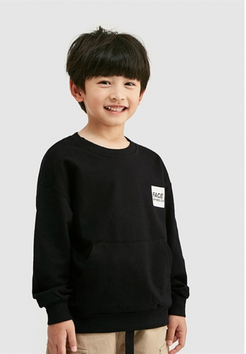 Fun printed patch pocket terry bottom pullover sweater for boys and girls