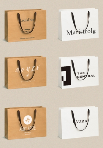 High end custom shopping paper bags Kraft bag clothing bags custom logo