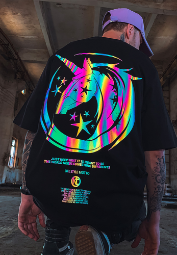 REFLECTIVE UNICORN OVERSIZE T-SHIRT