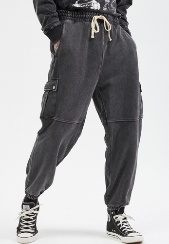320GSM Heavy wash vintage personality high waisted trackpants