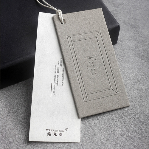 Custom high-end men's clothing think tag