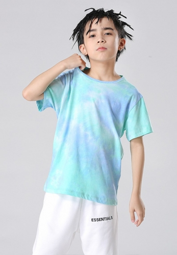 Blue high street tie-dye children's T-shirt