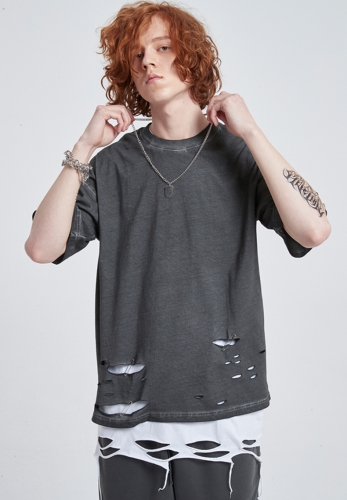 Heavy wash vintage distressed cutting basic t-shirt