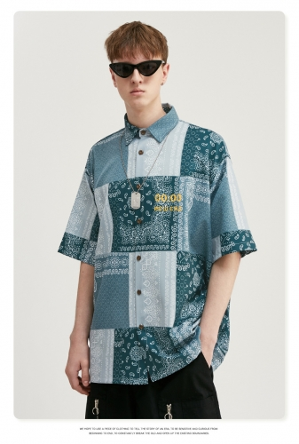 Retro ethnic cashew flower digital printing shirt