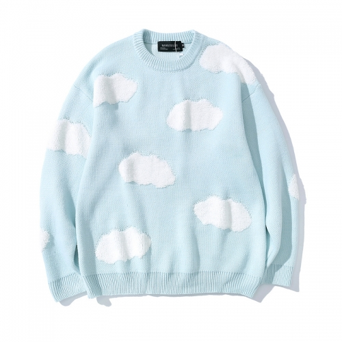 Blue sky and white clouds pullover