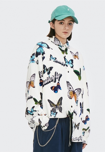Butterfly digital printing loose shirt