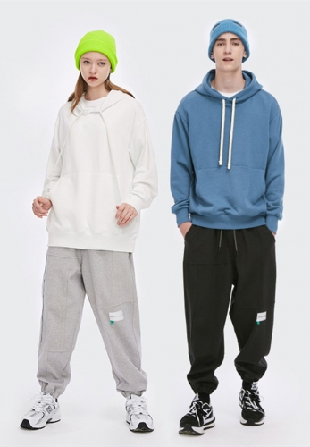 300g solid color soft core light sweater hoodie