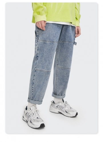 Personality casual straight wash jeans
