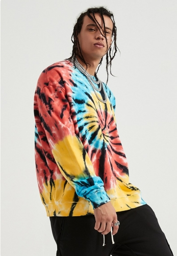 Colorful spiral dark tie-dye pullover