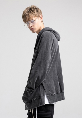 Side slit terry high street hoodie jacket