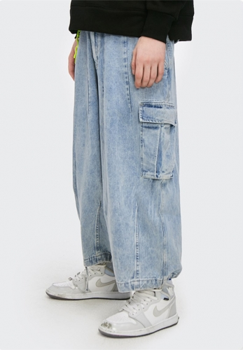 Washing personality loose wide-leg men's nine-point pants jeans