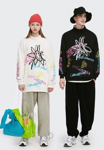 Street graffiti smiley loose stand collar terry bottom sweater