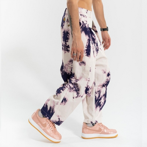 Retro tie-dye elastic belt trousers pants