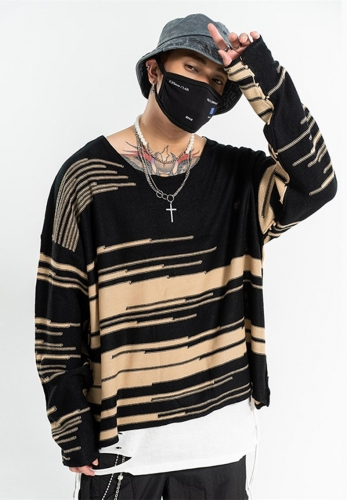 line knitted sweater wide round neck sweater
