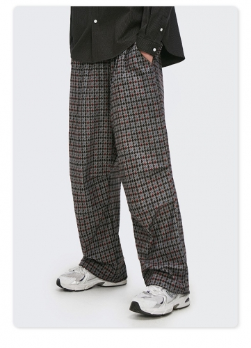 Personality classic color casual all-match retro loose plaid woven pants
