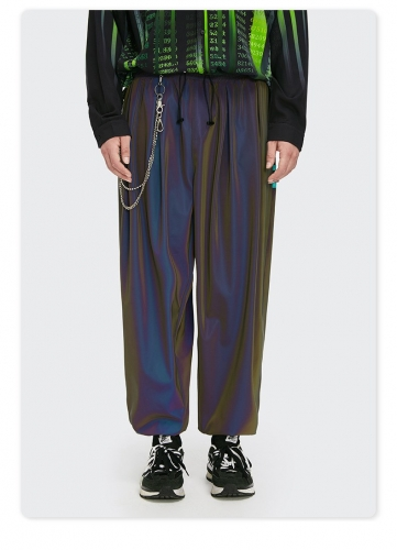 laser reflective beam feet loose casual woven pants