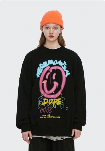 Graffiti fun smiley print loose all-match terry sweater