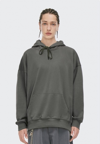 330g solid color terry bottom hooded