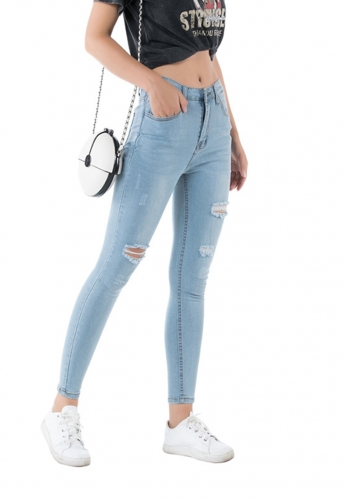 Stretch ripped holes washed slim jeans
