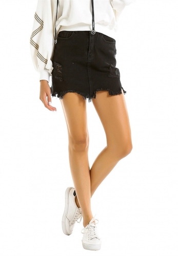 Half-length black denim skirt