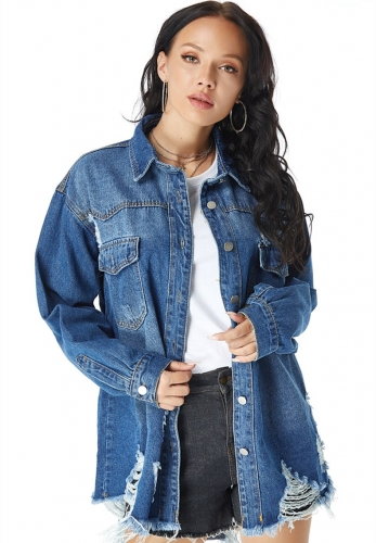 Long top denim jacket with raw edges and ripped holes