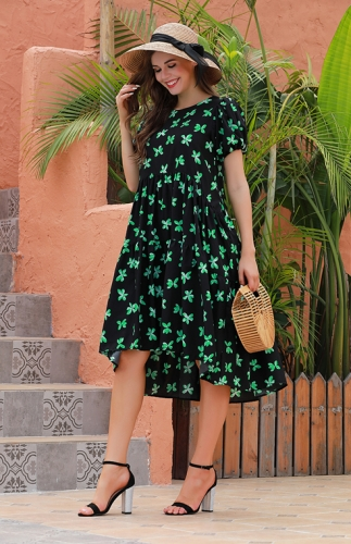Printed bubble sleeve short sleeve dress