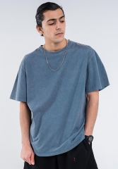 220G New vintage sand wash pure color T-shirt