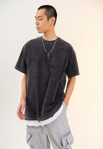 2021 summer new 260G heavy wash water vintage loose T-shirt