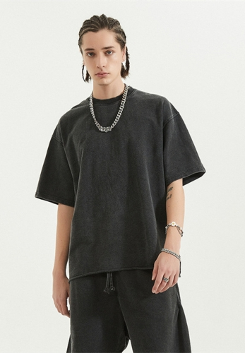 2021 Spring Summer basic style vintage style rolled hem short sleeve t-shirt