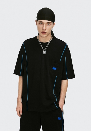 Reflective spring summer 2021 simple line design loose short sleeve T-shirt